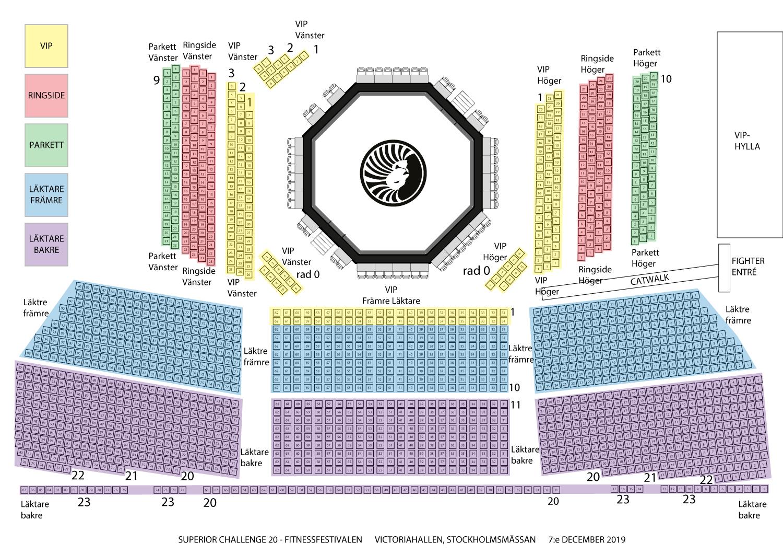 Seat Map Superior Challenge 20 Fitnessfestivalen, Victoriahallen, Stockholmsmässan