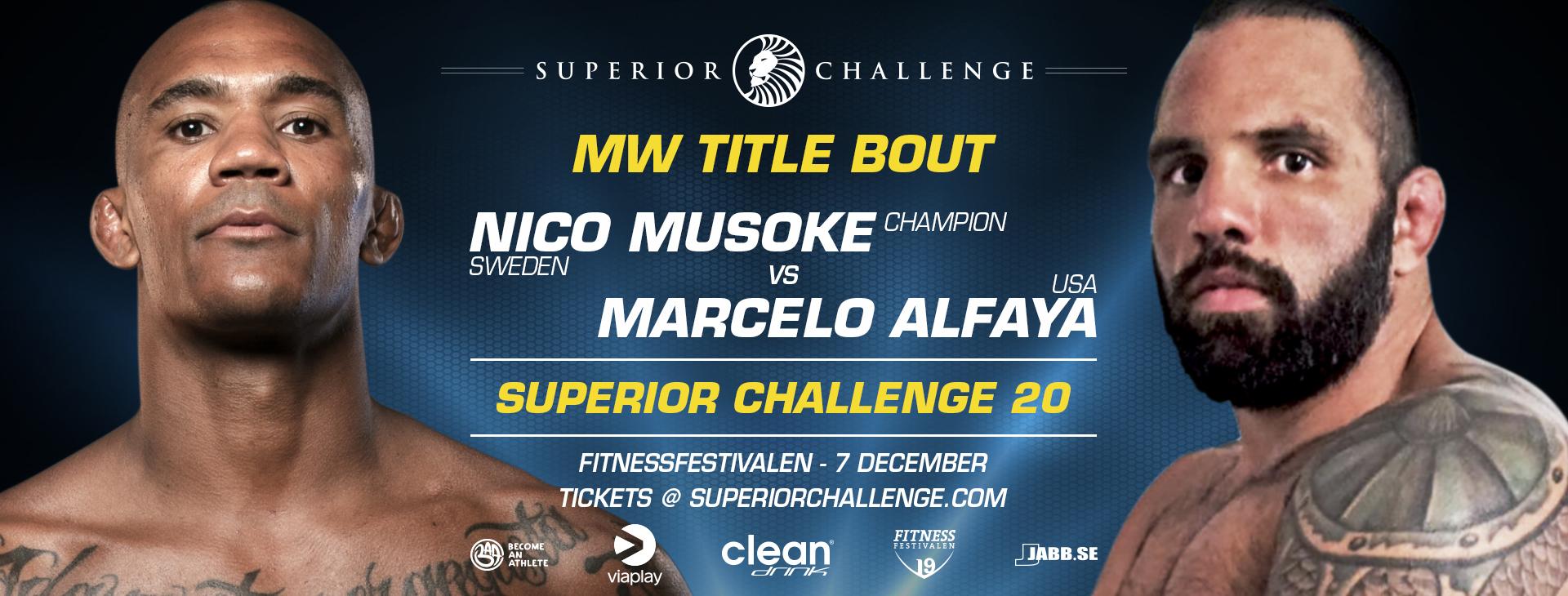 Middleweight title bout Nico Musoke vs Marcelo Alfaya at Superior Challenge 20 - Fitnessfestivalen
