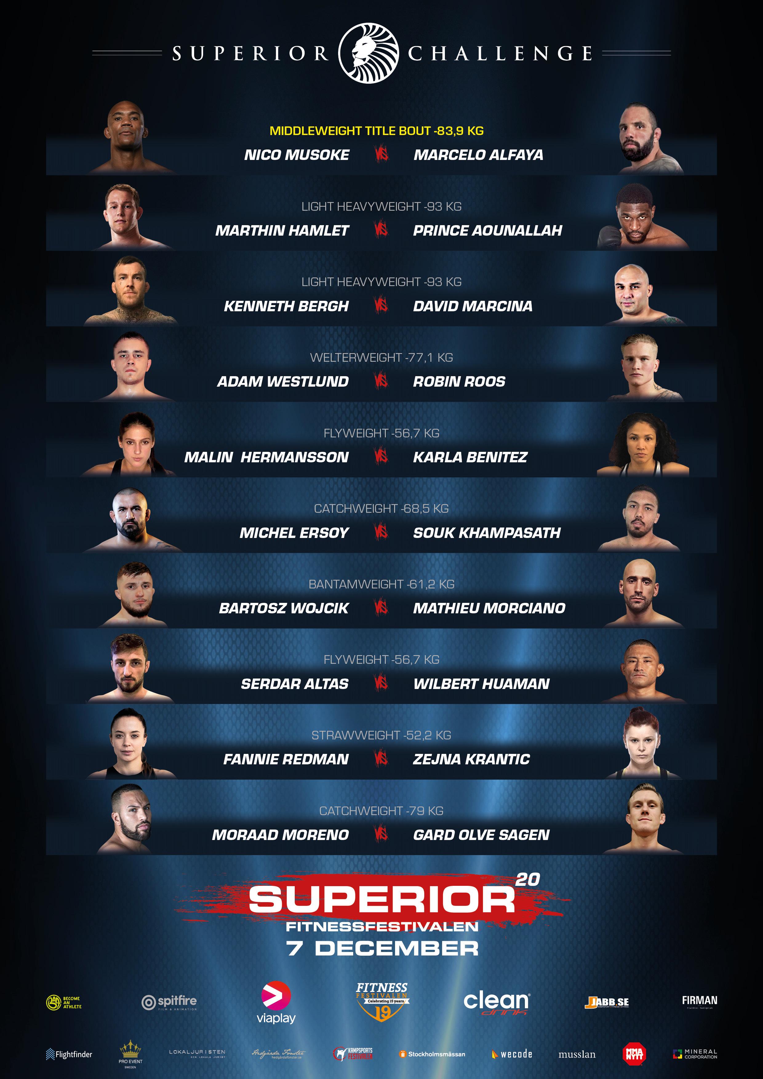 Fight Card Superior Challenge 20 - Fitnessfestivalen