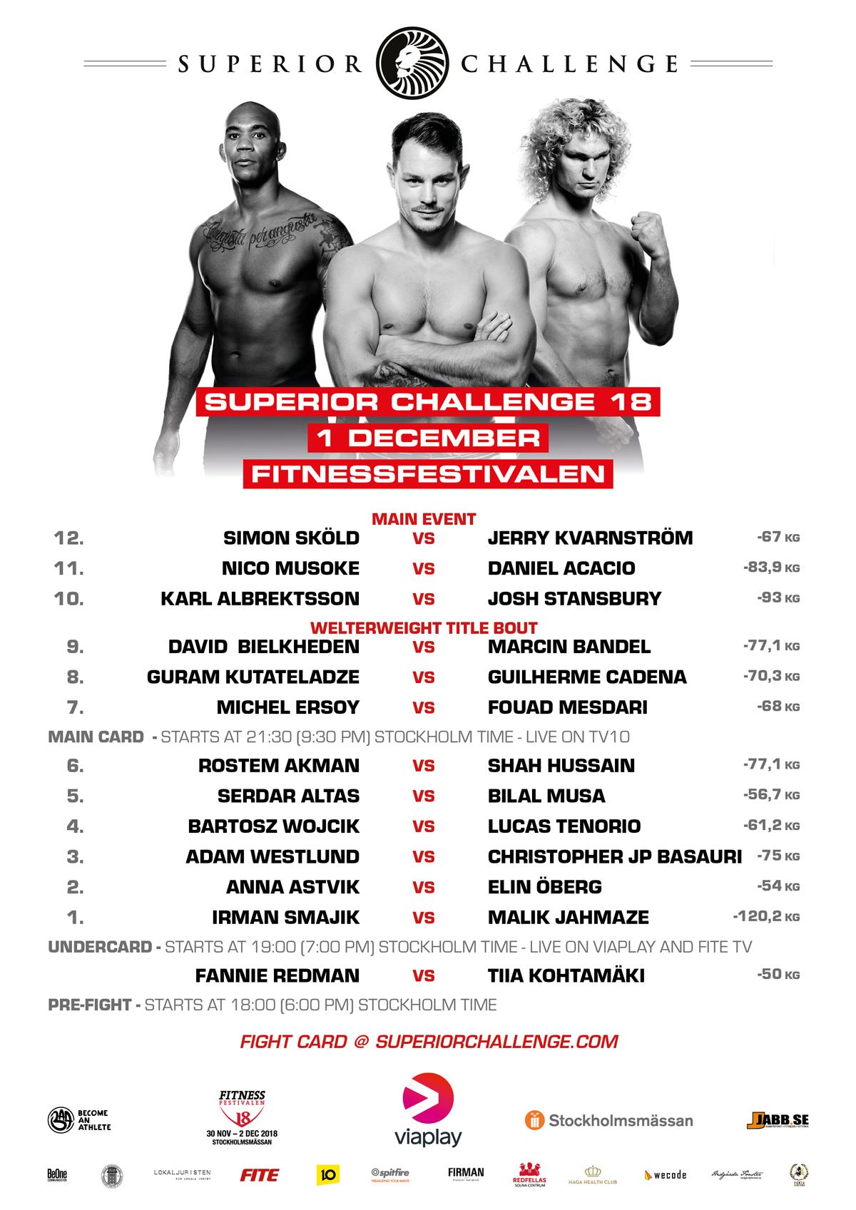 Fight Card Superior Challenge 18 Fitnessfestivalen