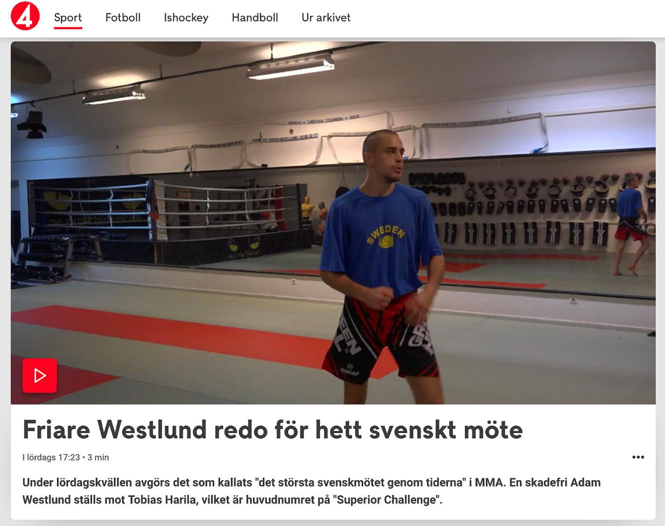 Adam Westlund Superior Challenge 21 reportage TV4 sport